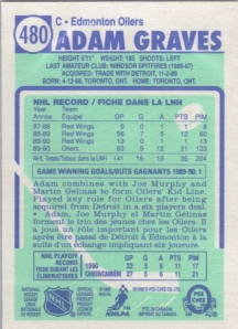 1990-91 O-Pee-Chee Adam Graves (back)