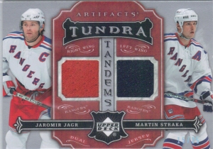 2007-08 Upper Deck Artifacts Jaromir Jagr-Martin Straka Tundra Tandems Dual Jersey Card 15 of 25