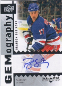 2009-10 Upper Deck Black Diamond GEMography Brandon Dubinsky Autograph